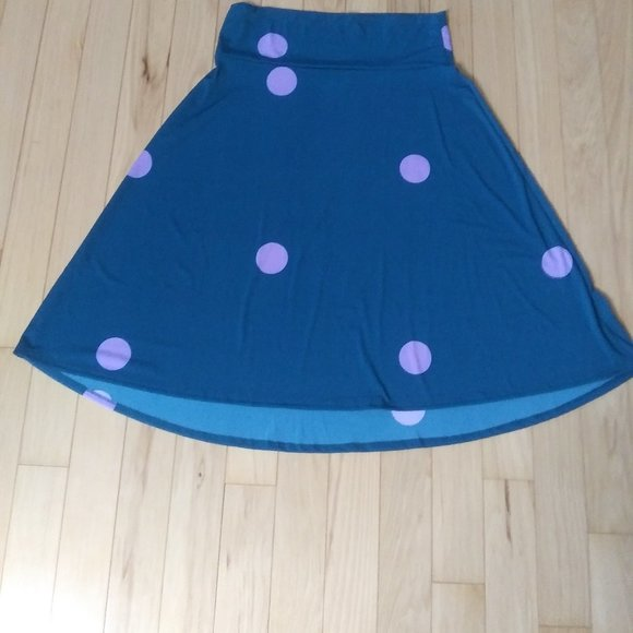Lularoe easy slip on playful  long skirt fun dots